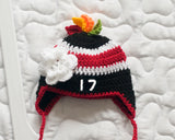 Baby Girl Chicago Blackhawks Hockey Hat Red Trim