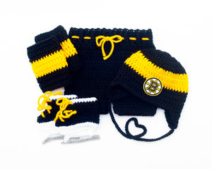 Bruins Hockey Logo Crochet Hat Pants Socks & Skates