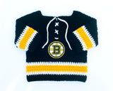 Bruins or Penguins Hockey Logo Crochet Jersey Sweater