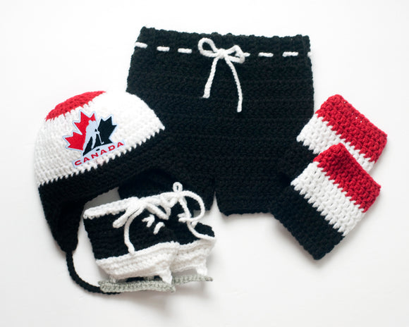 Hockey Team Canada Logo Crochet Maple Leaf