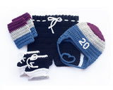Crochet Colorado Avalanche Hockey Baby Hat Pants Skates Socks Outfit