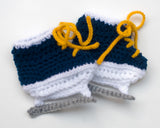 Crochet Baby Hockey SKates navy gold