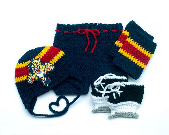 Panthers Hockey Logo Baby Crochet Hat Pants Socks Skates