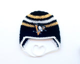Penguins Hockey Logo Baby Outfit Hat Crochet