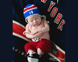 Red White Royal Blue Rangers Hockey Hat Pants Skates Outfit