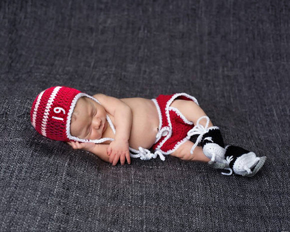Newborn Red White Hockey Hat Diaper Cover Skates Photography