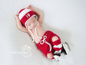 Red Wings Hockey Baby Boy Crochet Outfit