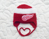 Red Wings Logo Hockey Baby Crochet Hat