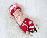 Red Wings Logo Hockey Baby Crochet Outfit