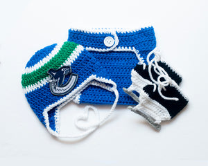 Canucks Hockey Logo Crochet Hat Diaper Cover & Skates