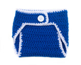 Royal Blue White Crocheted Diaper Cover