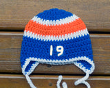 Crochet Baby Boy Hockey Royal Blue Orange Hat Newborn