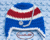 Rangers Hockey Baby Crocheted Hat Pants & Skates Outfit