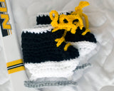 Crochet Baby Hockey Skates Black Gold