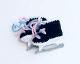 Baby Boy or Girl Hockey Skates Crocheted with Blue or Pink Laces