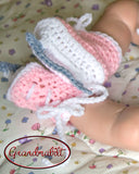 Hockey Baby Girl Crochet Grey Pink White Skates