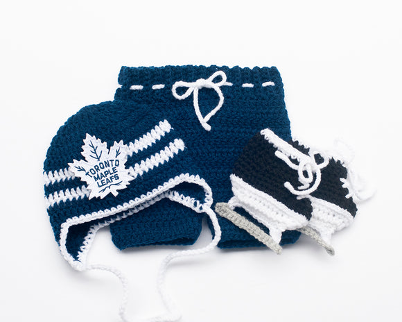 Maple Leafs Logo Hockey Baby Boy Hat Pants & Skates
