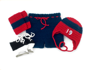 Capitals or Blue Jackets Hockey Baby Boy Crochet Outfit