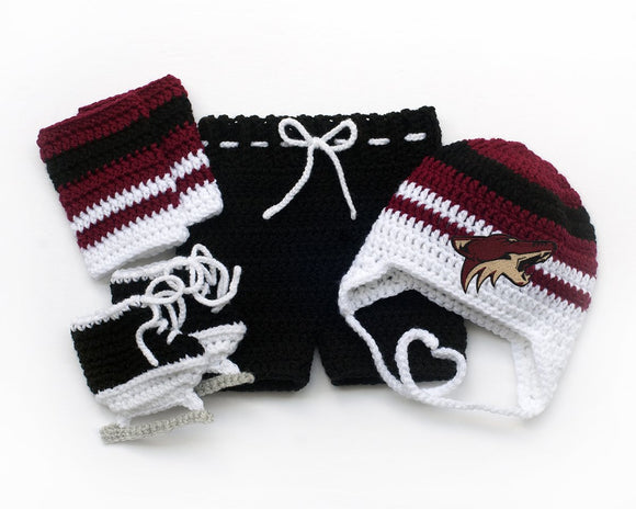 Arizona Coyotes Hockey Baby Crochet Hat Pants Socks Skates