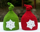 baby crochet red or green Christmas knot hat with snowflake