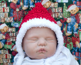 Baby Crochet Red White Pixie Bonnet Faux Fur