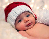 baby christmas red-white stocking hat newborn photography