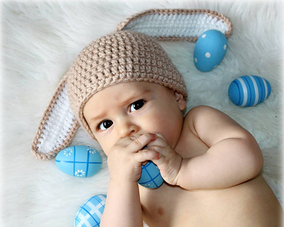 Baby Easter Bunny Crochet Hat Tan and White
