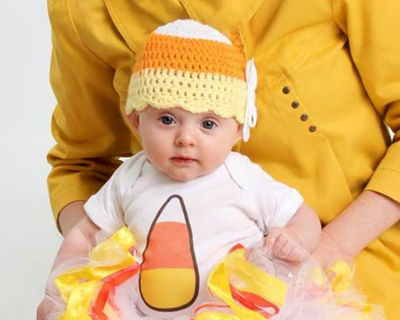Baby Girl Crochet Halloween Candy Corn Hat with Ribbon Bow