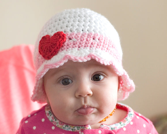 Baby Girl Crocheted Heart Hat or Shamrock Hat