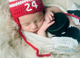 Red White Hockey Hat Newborn Crochet Outfit Photography