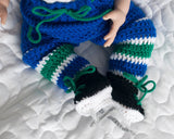 Canucks Hockey Baby Boy Crocheted Hat Pants Socks & Skates