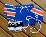 Crochet Baby Boy Hockey Royal Blue Orange Hat Pants Socks Skates