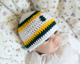 Baby Boy Crochet Packers Football Beanie Hat White Green Gold
