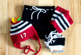 Red Black Boys Hockey Hat Feathers Pants Socks Skates Outfit
