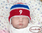Baby Boy Crochet Hockey Hat Red White Blue Photo Prop