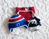 Baby Crochet Hockey Hat Diaper Cover Skates Photo Prop