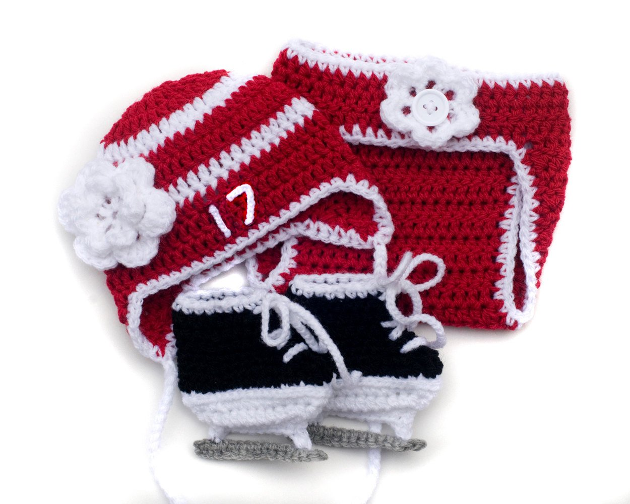 a88e7ac54 Red Wings Hockey Baby Girl Crocheted Hat Diaper Cover & Skates