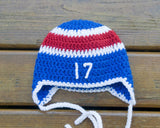 Crochet Baby Hockey Hat Red Blue
