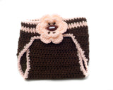 Baby Girl Football Hat Crochet Brown Peach with Flower