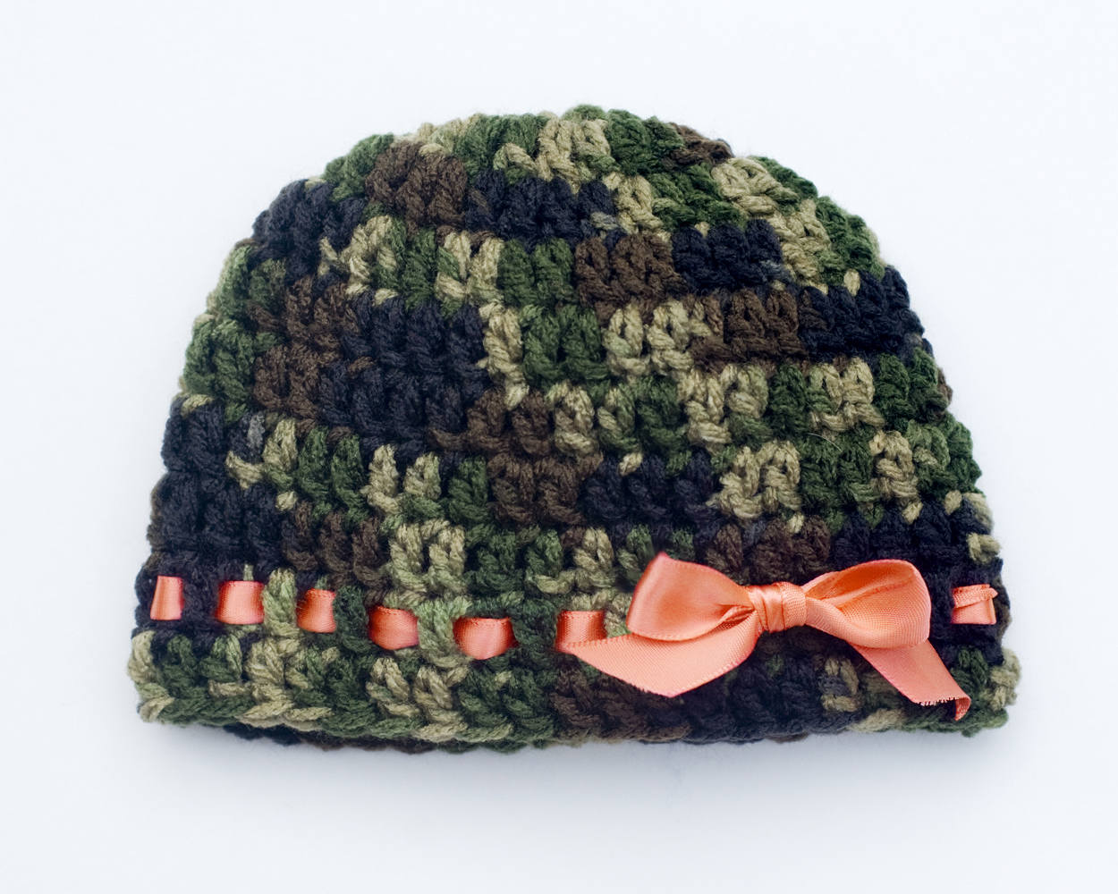 ... Crochet Baby Camouflage Beanie Hunter Orange Ribbon Camo Hat ... 3abe4d54110