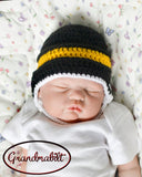 Crochet Hockey Black Gold Boys Helmet Photo Prop