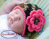 Baby Girl Camo Hot Pink Trim Camouflage Photography Prop