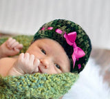 Baby Girl Camo Beanie Hot Pink Ribbon Bow Photo Prop