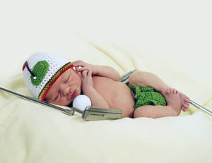 Baby Boy Golf Striped Edge Hat & Diaper Cover