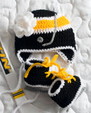 Baby Girls Hockey Hat & Skates Black Gold