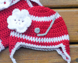 hockey crochet baby red white wings hat