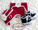 Baby Girl Hockey Red White Hat Diaper Skates Photo Prop