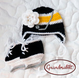 Baby Girl Bruins Penguins Hockey Hat Skates Black Gold