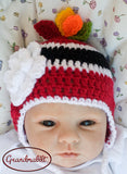baby girl crochet hockey hat feathers