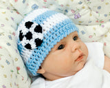 Crochet Baby Boy Blue White Argentina Soccer Hat